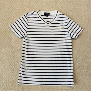 POLO Boys White Shirt Blue Stripes - Size 6
